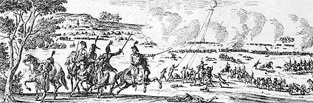 Le ballon captif de Coutelle à la bataille de Fleurus, 26 juin 1794.   (Reproduction d'une gravure  de Duplessis-Bertaux. Collection Tissandier.)