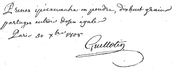 ordonnance médicale écrite de  la main du docteur Guillotin
