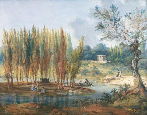 Tombeau de Jean-Jacques Rousseau à Ermenonville. Gouache de J. Moreth