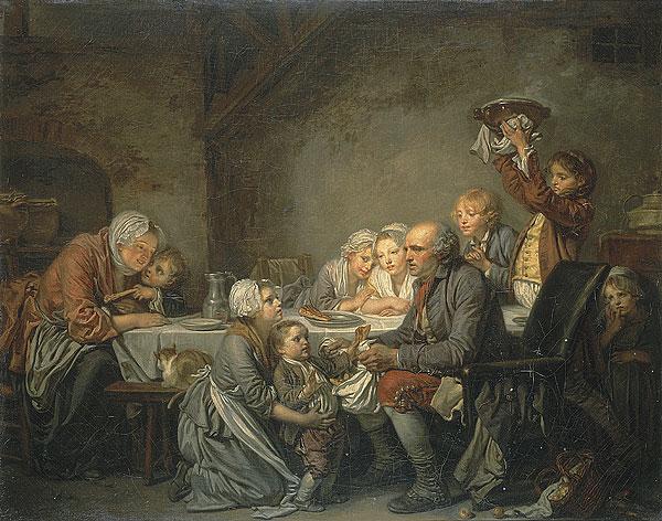 Tableau de Jean-Baptiste Greuze représentant le grand-père faisant tirer les parts au plus petit de la famille. Une petite  mendiante, qu'on a laissée entrer, guette la pari des pauvres.