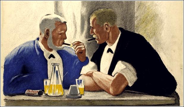 hommes au cigare